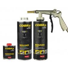 Novol COBRA (3+1 0,6л + 0,2л) защитное 2К ПУ покрытие, колеруемое/черное, евробаллон под пистолет