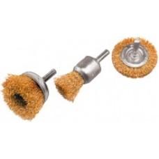 FIT Корщетки-насадки для дрели: колесо 50 мм, чашка 50 мм, венчик 25 мм