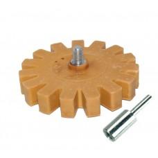 TOR Диск резиновый ребра D90мм*15мм для снятия клейких лент и остатков клея со шпинделем М8  с адаптером